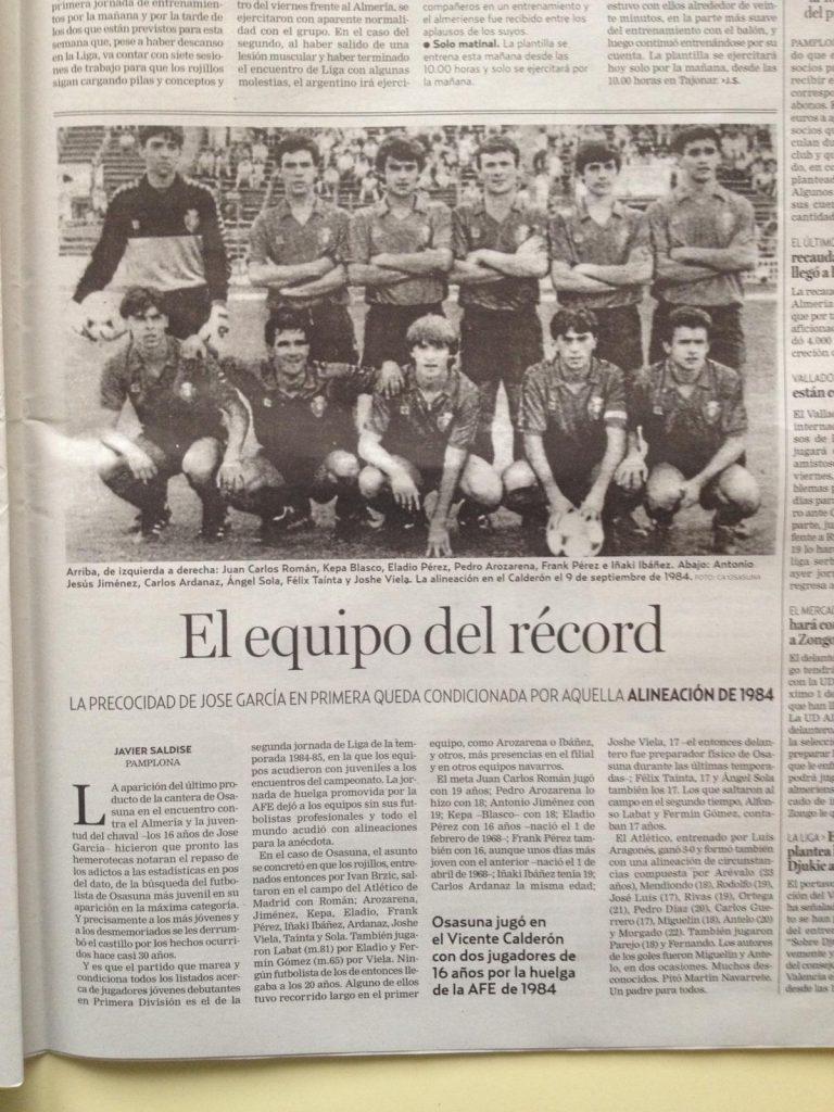 Félix Tainta el equipo del récord